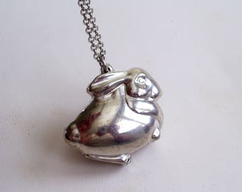 Rabbit Locket, Vintage Bunny Perfume Locket, Silver Rabbit Locket, Easter Rabbit Pendant Necklace, Max Factor Perfume Locket Pendant