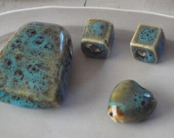 Porcelain Bead Assortment   -  Pendant, Cubes and Heart