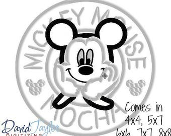 Coffee Mickey Embroidery Design 4x4, 5x7, 6x6, 7x7, 8x8 in 9 formats-Applique Instant Download-David Taylor Digitizing
