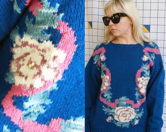 1st PLACE Floral Lei Knit Blue Long Sleeve 80s Funky Abstract Sweater