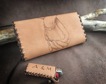Genuine leather, holding hands, leather tobacco pouch, leather case, Tobacco Pouch, pyrography on leather, pipe tobacco