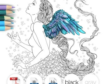 Adult Coloring Page Fantasy Girl Angel Line Art
