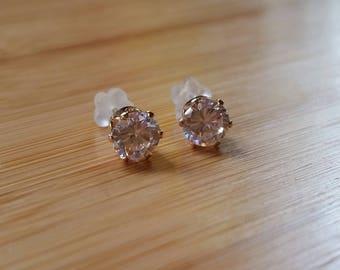 Natural Zircon 5mm round stud earrings