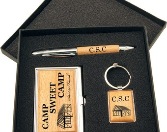 Wood Pen, Keychain and Business Card Holder Gift Set in Black Presentation Bo