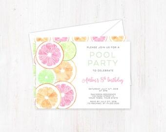 Citrus Birthday Invitations, Child Pool Party Invites, lime tangerine grapefruit, Printed Summer Party Invite, Outdoors birthday party cards