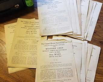 Lot of 19, 1944, Mystery Chef printed recipe sheets