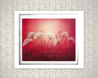 SUMMER NIGHTS- Abstract Landscape Floral Art Print. Floral abstract painting print. Flower Painting Print.