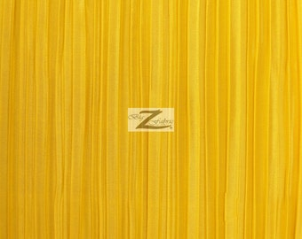 """Shiny Pleated Plisse Satin Fabric - GOLDEN YELLOW - Sold By The Yard 59"""" Width"""