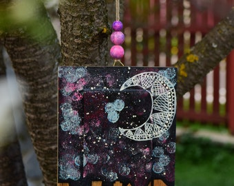 ABSTRACT NIGHT PAINTING Night Painting Moon and Stars Moon Painting Wood Wall Art Home Decor City At Night Art Painted Sign Reclaimed Wood
