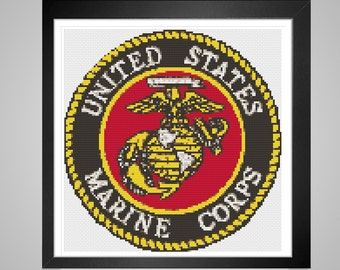 Cross Stitch Pattern Marine Corp Patch pdf tutorial United States military decor insignia crossstitch modern embroidery INSTANT DOWNLOAD