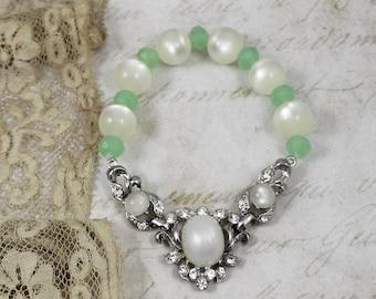 Moonstone Stretch Assemblage Bracelet, Vintage Stretch Bracelet, Bridal Stretch Bracelet, Vintage Assemblage Stretch Bracelet
