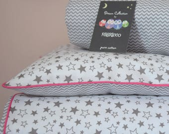 100%COTTON Cot Bed Duvet Cover Set with fitted sheet Girls Grey Pink Stars Mini Chevron  pink piping