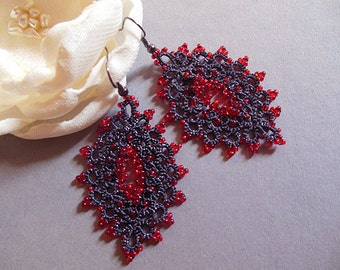 Blue tatting earrings with red seed beads, navy blue lace earrings, tatted dangle earrings , filigree lace jewelry, valentines gift
