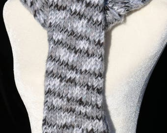 Handmade Knitted Scarf  White/ Black/Gray and Gray