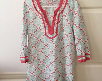 JCREW Printed Tipped V-neck Tunic Coral & Blue M