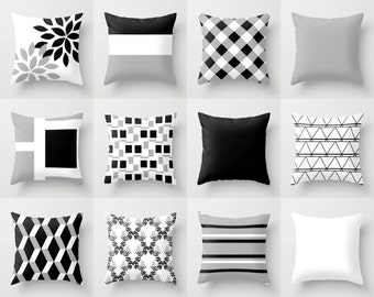 Black white pillow Etsy