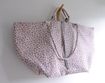Large simple tote bag. Red orange small flower print market tote. shopping bag. Style140R. Ready to ship