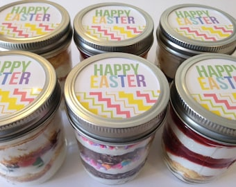 6 (8oz) Cupcakes In A Jar-Mason Jars-Happy Easter-Easter Sweets-Easter-Easter Cupcakes-Pastel-Spring-Easter Favors-Easter Gifts