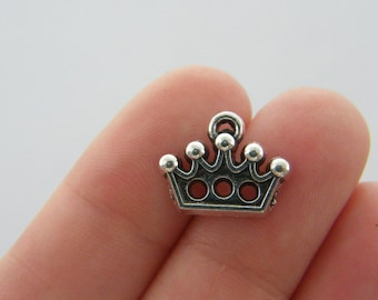 10 Crown charms antique silver tone CA59