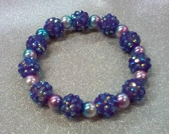 Europa Beaded Bracelet * Purple Irridescent  Stretch Bracelet * Gifts for Her