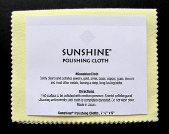 FREE SHIPPING Sunshine Polishing Cloth Jewelry Cleaner Gold Silver Brass Wood Polisher Polish Removes Tarnish Remover Large NEW Yellow 7.5x5