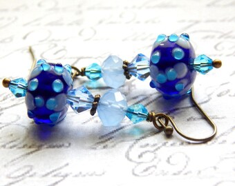 Lampwork Glass Earrings - Blue Lampwork Glass Earrings - Dangle Earrings