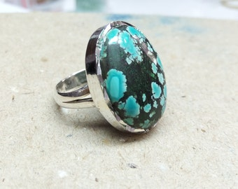 Natural Turquoise ring, sterling silver ring, gemstone ring, 925 silver ring, handmade ring, gift for her, statement ring size 7.5
