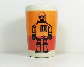 itty bitty cylinder / vase / cup with Robot 2 print on a color block of Creamsicle & Red-Orange, Ready to Ship