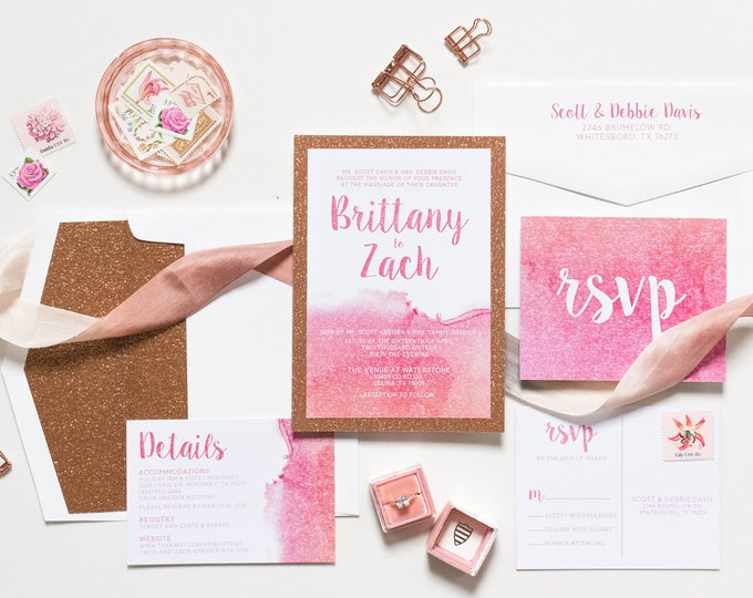 Rose Gold Glitter and Water Color Wedding Invitation with Glitter Envelope Liner, RSVP and Details - Multiple Color Options Available!