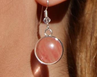 Cherry Quartz & Fine Silver Earrings (FB)