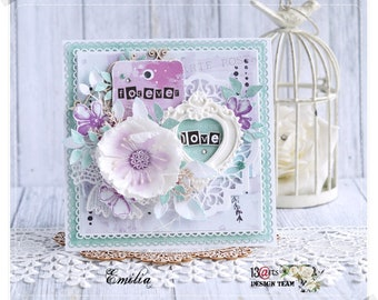 Forever Love Mint & Purple Card with Handmade Flower in a Box