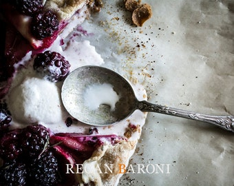 Food Photography, Wall Art, Kitchen Art, Home Decor, Galette with Blackberries, Rustic Art