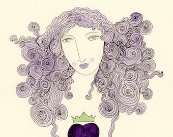 Love Reigns-Purple Heart, Purple, Violet, Heart and Crown, Romantic Print
