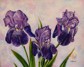 Iris, Purple Iris, Iris Painting, Iris Artwork, Purple Flowers, Acrylic on watercolor paper, original hand painted artwork, floral art