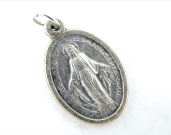 Vintage Miraculous Medal Catholic Medal - Our Lady of Grace - Virgin Mary Religious Charm - Catholic Jewelry Findings 0511