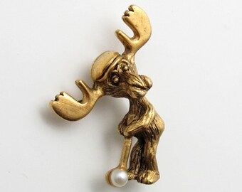 Markie Moose Golf tac pin tie tac gold finish