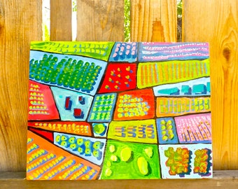 landscape painting, acrylic painting, original painting, aerial landscape painting, abstract painting, grid painting, painting of crops