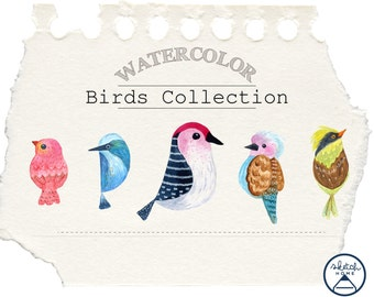 Birds Watercolor Clipart Set commercial use, instant download