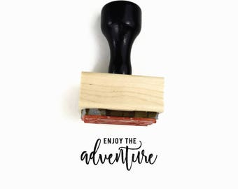 Enjoy The Adventure Stamp | UPLIFT NOTES Rubber Stamp | Inspirational Quote | Art Journaling Planner | Wood Mounted Stamp