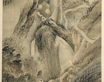 "1909, Japanese antique woodblock print, Yosa Buson, ""秋景山水図""."