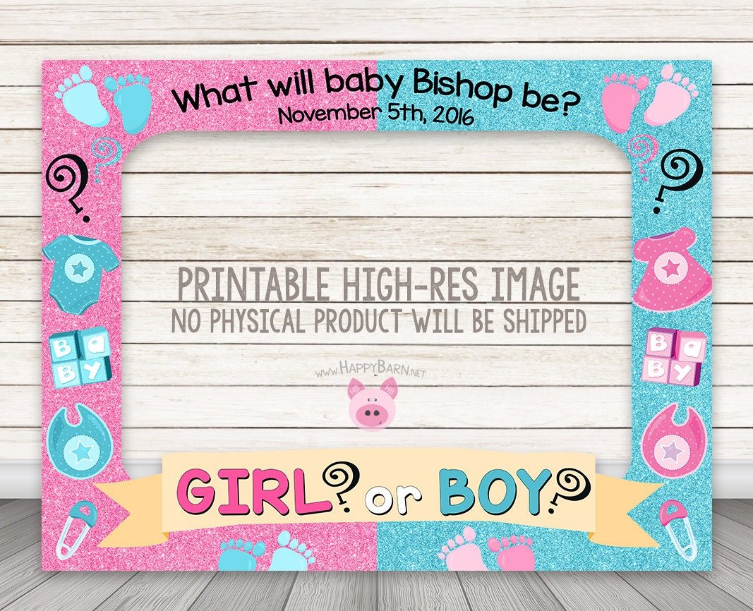 Printable Gender Reveal Photo Booth Frame Baby Shower Photo