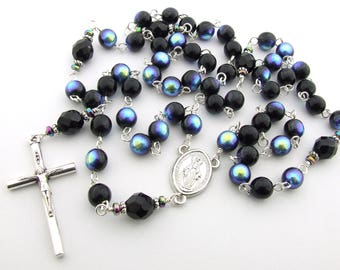 Catholic Rosary Beads - Miraculous Medal Black Czech Glass Five Decade Rosary Beads - Personalized Rosary - Gift for Him - Catholic Gift