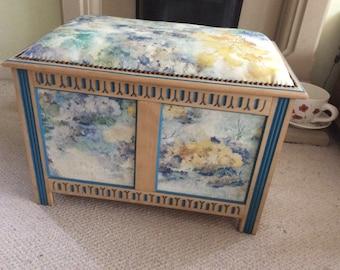 Oak Upholstered Ottoman