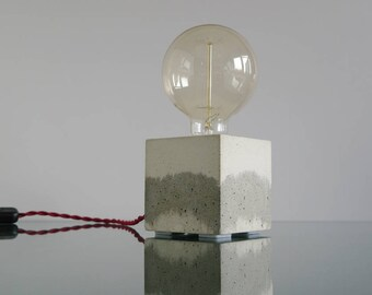 Concrete lamp with red twisted textile cable, Concrete Lamp, Concrete table lamp, Concrete desk lamp, Edison lamp, Table lamp, Desk lamp