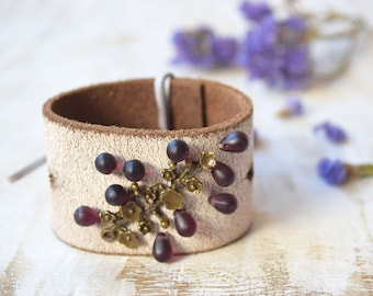 Bohemian leather cuff bracelet with tree twig and glass beads Boho Chic rustic summer cuff Floral cuff Recycled bracelet wide upcycled cuff
