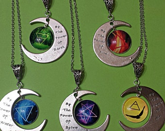 Elements necklace wicca wiccan necklace witch pendant  pagan necklace pagan jewlery