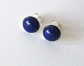 Lapis Gemstone Studs Sterling Silver Post Earrings, 8mm Cabochons, Dark Blue Lapis Lazuli Stones,Minimalist Style