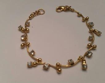 Vintage Monet Bracelet Gold Rhinestone Costume Jewelry