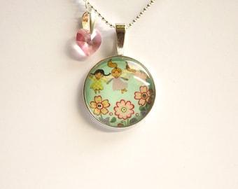 Garden fairy jewelry Garden fairy pendant Garden fairy necklace Flower fairy necklace Garden fairies Fairy tale necklace Fairy tale jewelry