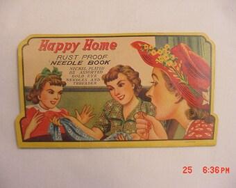 Vintage Happy Home Rust Proof Needle Book   17 - 542